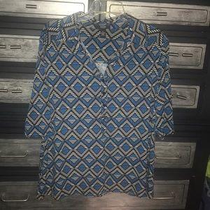 Alfani blue/black/white multi pattern collared top
